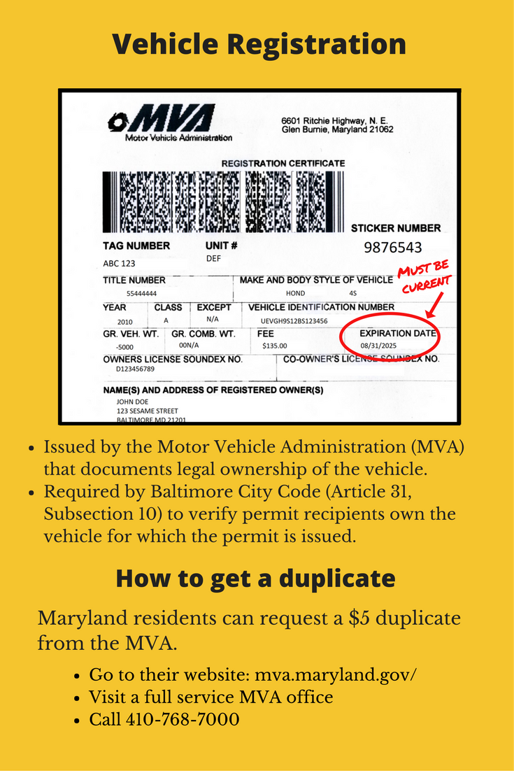 MVA issued vehicle registration is required